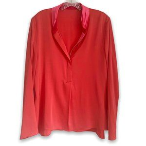 Tahari Coral Peony Silk Long Sleeve V-Neck Top